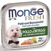 Паштет MONGE Fresh для собак с курицей и овощами