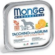 Паштет MONGE Monoprotein Fruits для собак с индейкой и цитрусовыми