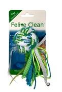 Игрушка для кошек Feline Clean Dental Мячик из каната с лентами и перьями