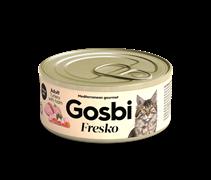 Консервы (паштет) GOSBI FRESKO для взрослых кошек с индейкой, курицей и ветчиной (Turkey & Ham)