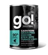 Консервы беззерновые GO! для щенков и собак с тушеной курицей, индейкой и мясом утки (Carnivore Grain Free Chicken Stew with Turkey + Duck DF