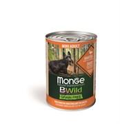 Беззерновые консервы Monge Bwild для собак мелких пород из утки с тыквой и кабачками (Bwild Adult Mini - Duck with pumpkin and zucchini)