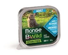 Консервы беззерновые Monge BWild для кошек из анчоусов с овощами (Grain Free Adult Cat Anchovies with vegetables)