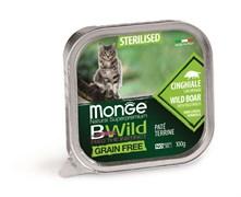 Консервы беззерновые Monge BWild для стерилизованных кошек из кабана с овощами (Grain Free Sterilised Cat Wild Boar with vegetables)