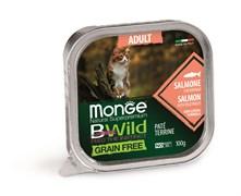 Консервы беззерновые Monge BWild для кошек из лосося с овощами (Grain Free Adult Cat Adult Salmon with vegetables)