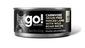 Консервы беззерновые GO! для котят и кошек с  рубленым мясом ягненка и дикого кабана (GO! Carnivore GF Minced Lamb with Wild Boar CF)
