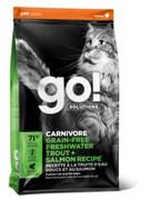 Беззерновой сухой корм GO! NATURAL Holistic для котят и кошек с чувствительным пищеварением с форелью и лососем (GO! CARNIVORE GF Freshwater Trout + Salmon Recipe for cats 45/18)