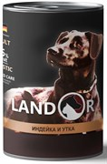 Консервы LANDOR для собак с индейкой и уткой Turkey and Duck