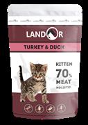 Пауч Landor для котят с индейкой и уткой Kitten Turkey and Duck