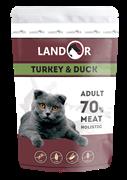 Пауч Landor для взрослых кошек с индейкой и уткой Adult Cat Turkey and Duck