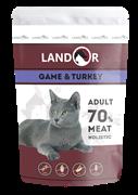 Пауч Landor для взрослых кошек с куропаткой и индейкой Adult Cat Game and Turkey