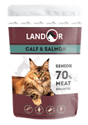 Пауч Landor для пожилых кошек с телятиной и лососем Senior Cat Calf and Salmon