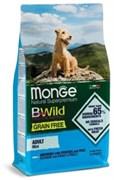 Беззерновой сухой корм MONGE BWild для взрослых собак малых пород с анчоусом, картофелем и горохом