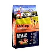 Сухой корм ONTARIO для взрослых собак крупных пород с говядиной, индейкой и рисом