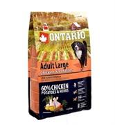 Сухой корм ONTARIO для взрослых собак крупных пород с курицей и картофелем
