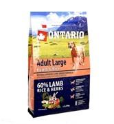 Сухой корм ONTARIO для взрослых собак крупных пород с янгенком индейкой и рисом