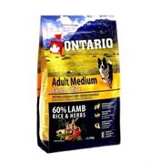 Сухой корм ONTARIO для взрослых собак средних пород с янгенком индейкой и рисом