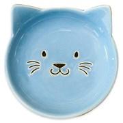 Блюдце керамическое для кошек КерамикАрт Мордочка кошки 80 мл голубое