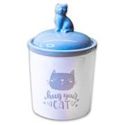 Керамический бокс для хранения корма КерамикАрт Hug your cat для кошек 1650 мл