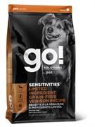 Беззерновой сухой корм GO! для щенков и собак со свежей олениной для чувствительного пищеварения (Sensitivities Limited Ingredient Grain-Free Venison recipe for dogs)