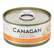 Беззерновые консервы CANAGAN для котят и кошек с цыпленком и лососем (Cat Fresh Chicken with Salmon)
