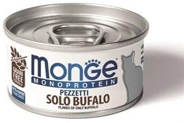 Консервы MONGE Monoprotein для взрослых кошек хлопья из мяса буйвола на пару