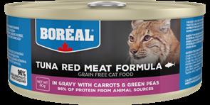 Беззерновые консервы BOREAL для котят и кошек из красного мяса тунца с морковью и зеленым горошком в соусе (Tuna Red Meat in gravy with carrots and green peas)