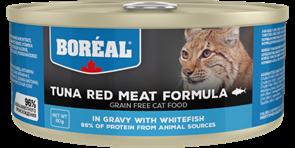 Беззерновые консервы BOREAL для котят и кошек из красного мяса тунца с белой рыбой в соусе (Tuna Red Meat with Whitefish in gravy)