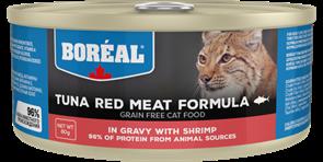 Беззерновые консервы BOREAL для котят и кошек из красного мяса тунца с креветками в соусе (Tuna Red Meat with shrimp in gravy)
