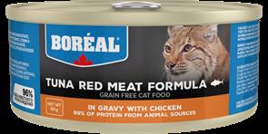 Беззерновые консервы BOREAL для котят и кошек из красного мяса тунца с курицей в соусе (Tuna Red Meat with chicken in gravy)