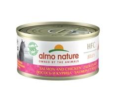 Консервы ALMO NATURE для взрослых кошек с лососем и курицей HFC Jelly Adult Cat Salmon Chicken