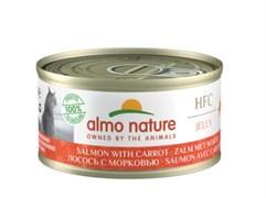 Консервы ALMO NATURE для взрослых кошек с лососем и морковью HFC Jelly Adult Cat Salmon Carrot
