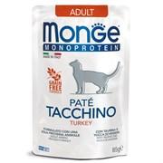 Пауч MONGE Monoprotein для взрослых кошек с индейкой (Cat Monoprotein Pouch Adult Turkey)