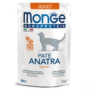 Пауч MONGE Monoprotein для взрослых кошек с уткой (Cat Monoprotein Pouch Adult Duck)