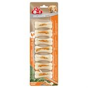 Косточки сверхпрочные для чистки зубов с куриным мясом для мелких собак 8in1 DELIGHTS Strong XS 7,5 см 7 шт