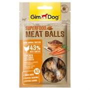 Лакомство для собак GimDog - из курицы с морковью и семенами льна - мясные шарики суперфуд