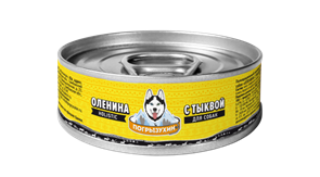 Консервы Погрызухин для собак из мяса Северного оленя с тыквой 100 гр