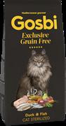 Беззерновой сухой корм GOSBI Exclusive GF для стерилизованных кошек с уткой и рыбой (Grain Free Cat Sterilized Duck/Fish)