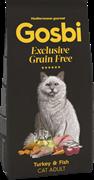 Беззерновой сухой корм GOSBI Exclusive GF для взрослых кошек с индейкой и рыбой (Grain Free Adult Cat Turkey/Fish)