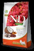 Беззерновой cухой корм FARMINA ND для собак малых пород с рыбой и киноа для кожи и шерсти (Quinoa Skin/Coat Herring Adult Mini)