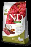 Беззерновой cухой корм FARMINA ND для собак малых пород с уткой и киноа для кожи и шерсти (Quinoa Skin/Coat Duck Adult Mini)