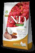 Беззерновой cухой корм FARMINA ND для собак малых пород с перепелом и киноа для кожи и шерсти (Quinoa Skin/Coat Quail Adult Mini)