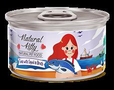 Консервы PETTRIC Natural Kitty для кошек Тунец с кальмаром в собственном соку (Natural Kitty Tuna with squid in broth)