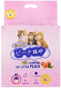 Биоразлагаемый соевый комкующийся наполнитель HAKASE AREKKUSU Bio Clumping Cat Litter Peach с ароматом персика