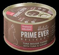 Консервы Prime Ever Holistic мусс для котят и кошек тунец и креветками Delicacy Tuna Mousse Topped With Tuna And Shrimp
