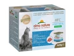 Консервы ALMO NATURE низкокалорийные для взрослых кошек c атлантическим тунцом набор 4 шт. по 50 гр. Natural Light Meal - Atlantic Tuna