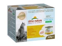 Консервы ALMO NATURE низкокалорийные для взрослых кошек куриное филе набор 4 шт. по 50 гр. Natural Light Meal - Chicken Fillet