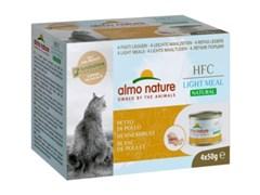 Консервы ALMO NATURE низкокалорийные для взрослых кошек куриная грудка набор 4 шт. по 50 гр. Natural Light Meal - Chicken Breast