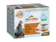 Консервы ALMO NATURE низкокалорийные для взрослых кошек курица с тунцом набор 4 шт. по 50 гр. Natural Light Meal - Chicken and Tuna