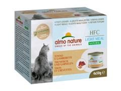 Консервы ALMO NATURE низкокалорийные для взрослых кошек тунец с креветками набор 4 шт. по 50 гр. Natural Light Meal - Tuna and Shrimp
